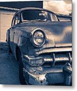 Old Car In Front Of Garage Metal Print