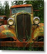 Old Cars Left To Decorate The Weeds Metal Print