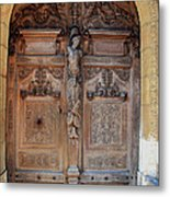 Old Carved Church Door Metal Print