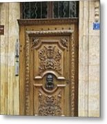 Old Carved Door Metal Print
