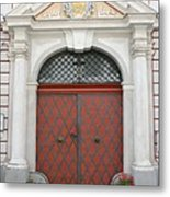 Old Carved Red  Door Metal Print