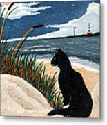 Old Cat And The Sea Metal Print