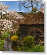 Old Cherry Blossom Water Mill Metal Print