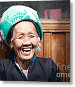 Old Chinese Zhuang Minority  Lady Smiling China Metal Print