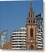 Old Church Amongst New High Rise Modern Apartments Metal Print
