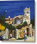 Old Church And Flower Girl Metal Print