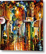 Old City Street - Palette Knife Oil Painting On Canvas By Leonid Afremov Metal Print