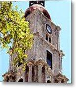 Old Clock Tower In Rhodes City Greece Metal Print