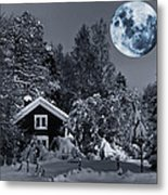 Old Cottage And Landscape With A Full Moon Metal Print