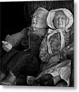 Old Couple Mannequins In Shop Window Display Metal Print