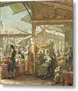 Old Covent Garden Market Metal Print by George the Elder Scharf