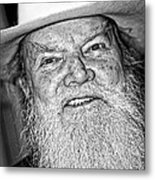 Old Cowboy In Black And White Metal Print