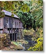 Old Creek Grist Mill In Autumn Metal Print