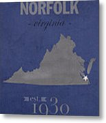 Old Dominion University Monarchs Norfolk Virginia College Town State Map Poster Series No 085 Metal Print