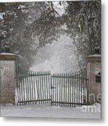 Old Driveway Gate In Winter Metal Print