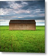 Old Farm Shed In Green Wheat Field Metal Print