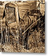 Old Farm Tractor In Sepia 1 Metal Print
