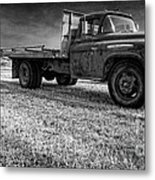 Old Farm Truck Black And White Metal Print