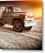Old Farm Truck With Explosion At Night Metal Print
