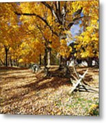Old Farmroad With Autumn Colors Metal Print by George Oze