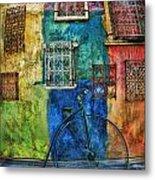 Old Fashion Bike And Blue Wall Metal Print