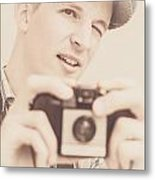 Old Fashion Male Freelance Photographer Metal Print