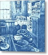 Old Fashioned Kitchen In Blue Metal Print