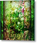 Old Fashioned Merry Christmas - Roses And Babys Breath - Holiday And Christmas Card Metal Print