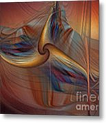 Old-fashionened Swing Boat In The Afterglow Metal Print
