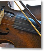 Old Fiddle And Bow Still Life 2 Metal Print