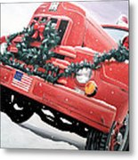 Old Firetruck At Christmas Metal Print