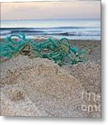 Old Fishing Net On Beach Metal Print