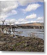 Old Fishing Platform By The Dalles Bridge Metal Print