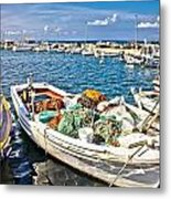 Old Fishing Wooden Boat With Nets Metal Print