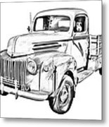 Old Flat Bed Ford Work Truck Illustration Metal Print