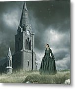 Old Freanch Church With Maiden Metal Print