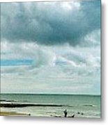 Old Friends Share A Beach Metal Print