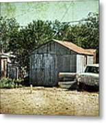 Old Garage And Car In Seligman Metal Print