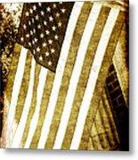 Old Glory Sepia Rustic Metal Print