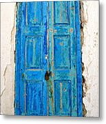 Old Greek Shutter Metal Print