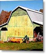Old Green Barn South Of Rosman Metal Print