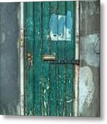 Old Green Door In Quarter Metal Print