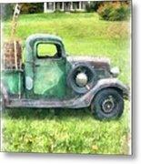 Old Green Pickup Truck Metal Print