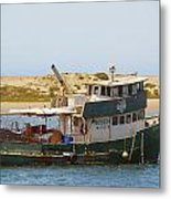 Old Green Scow Morro Bay Harbor Metal Print