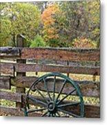 Old Green Wagon Wheel Metal Print