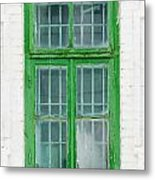 Old Green Wooden Window Metal Print