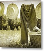Old Grunge Photo Of Jeans And Straw Hats  Metal Print