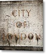 Old Grunge Stone Board With City Of London Text Metal Print