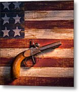 Old Gun On Folk Art Flag Metal Print