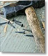 Old Hammer On Wooden Background Metal Print